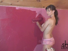 Busty babe Shay Laren gets hot and painted her body
