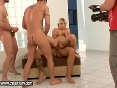 Stella Delacroix blowing while banging on her two holes doggyway