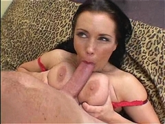 Busty babe Angelica Sin sucking a huge cock while her tits fucked