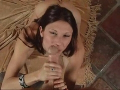 Babe Crystal Ray gets her hands full of messy cum in a nasty handjob