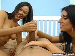 Latina Luscious Lopez and friend doing a nasty handjob groupsex