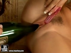 Eufrat and her friend toast for a glass of wine after a hard lesbo action