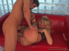 Sandra De Marco gets her butthole pinned hard on the couch