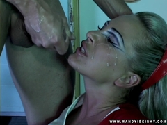 Hot milf Mandy Bright gets a warm jizz on her face