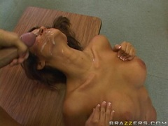 Horny teacher Jodi Bean gets nailed from behind and takes a huge facial