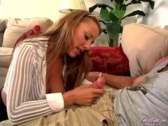 Blonde hottie Tiana Lynn deepthroating a massive long hard cock