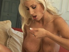 Horny busty blonde babe Puma Swede loves playing her tits and pussy