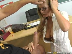 Big boobed Abby Rode swallows cock and gets titty fucked
