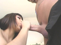 Horny babe Foxy Lady blows a huge hard cock