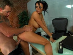 Busty babe Alektra gets her pussy fucked hard from behind