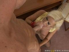 Blonde babe Cindy Dollar blows a big hard cock