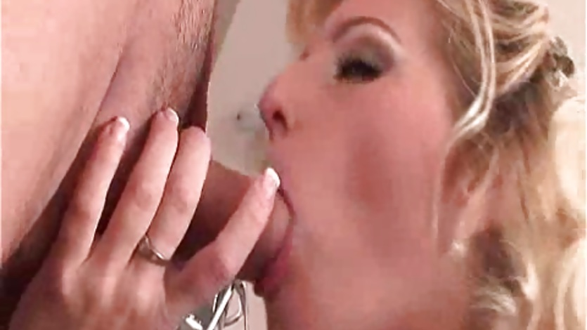 Sultry blonde Melissa Black blowing a massive hard meat