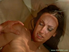 Rhiannon Bray gets a warm load of cum in her mouth