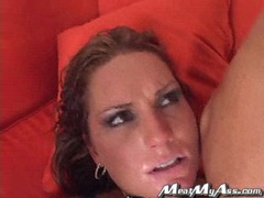 Flower Tucci getting drilled hard on her ass at the couch