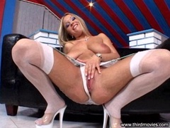 Busty babe Jessica Moore sucking a fat cock deep
