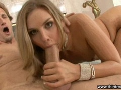 Hot looking Brianna Love shows off her great deepthroat skills