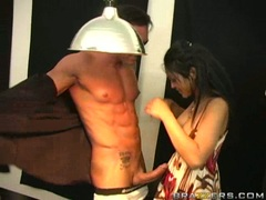 Asian babe Mika Tan blows a two hard cocks one at a time