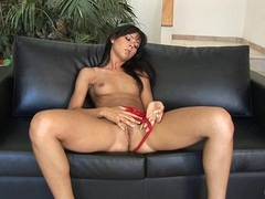 Stunning Susie Diamond stripping and playing her wet twat