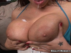 Busty Jenna Doll and Whitney Stevens sharing a big cock and creamy cumspray