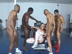 Busty babe Alicia Rhodes attacks by three black cocks