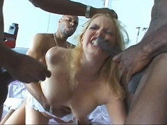 Hot babes Alicia Rhodes blows while getting drilled by multiple black cocks