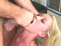 Babe Madison Scott riding a massive dick and takes a messy cumsplash