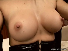 Busty babe Maria Bellucci blows two hard cock one at time