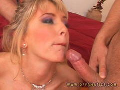 Natalli Di Angelo gets a double warm load of cum in her mouth