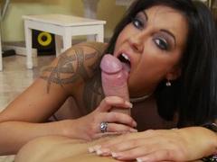 Sexy brunette Chayse Evans sucks a hard cock