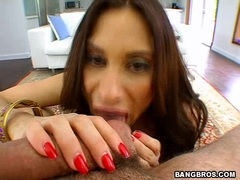 Hot latina Sheila Marie blowing a long fat dick