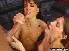 Jenny Lee and her friend recieves fresh load of cum on their mouths