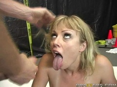 Adrianna Nicole gets sprayed with a hot load of cum on her mouth