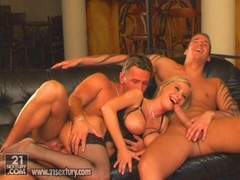 Busty Helena taking on two massive cocks