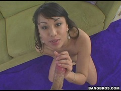 Busty asian Avena Lee swallowing a big white meat