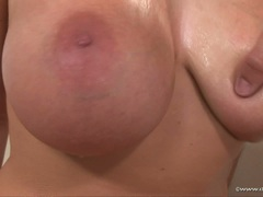 Cock lover Gianna Michaels takes a massive cumblow on her mouth and busty tits