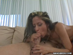 Busty latina August blows a hardrock meat dick