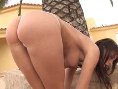 Big tits Stacy Stone takes her fingers into her cunt under the sun