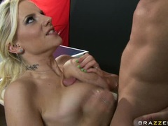 Filthy Haley Cummings sticks a man meat sausage in her mouth and loves it