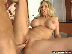 Filthy hot Julia Ann enjoys the massive dick sliding in her awesome meat tunnel