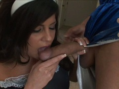 Lovely hot Michelle Avanti gets her mouth ripped by a huge cum coated cock