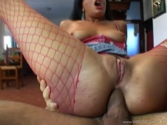 Slutty whore Priscilla gets her tight pussy pounded whilst getting her ass fucke