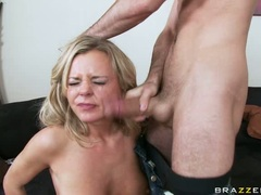 Bree Olson gets hot and wild sucking her man's very stiff cock until she chokes