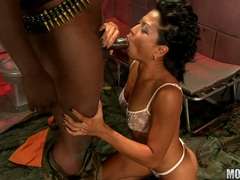Alluring hot Max Mikita is slurping a black cock with so much pleasure