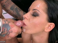 Larissa Dee is taking a real hot shot of man goo on her lovely face