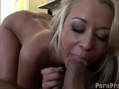 Nasty Brandy Blair keeps on tugging her man's dick making it hard to handle