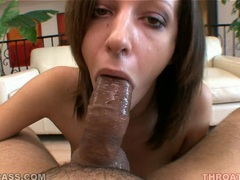 Daring bitch Jada Stevens gets her mouth filled with a throbbing dark pole