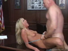 Sizzling Ashley Moore gags on a hard dick before taking a hard pussy pounding