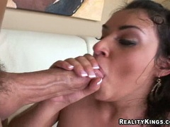 Charlee Chase is loving the warm sauce on her cheek after getting rammed