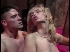 Blondie Sophie Evans gobbles cock before slipping it up juicy gash