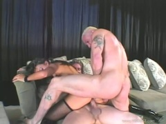 Raunchy Keeani Lei gets double penetrated before slurping down warm spunk